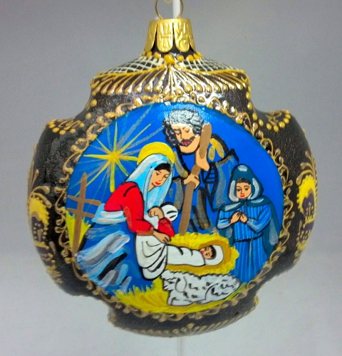 Nativity Cross Shaped Russian Hand Painted Ceramic Christmas Ornament - Ceramic And Porcelain Ornaments