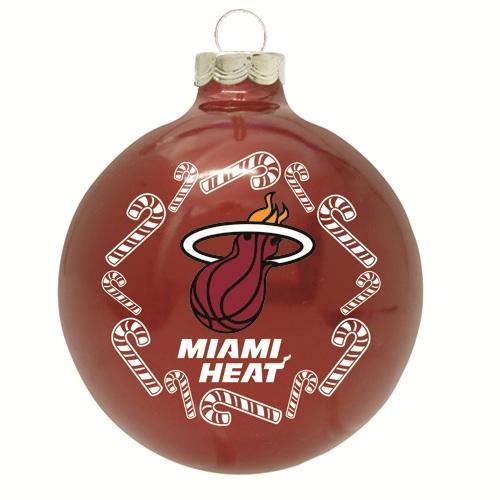 miami heat glass christmas ornament