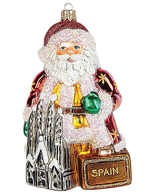 spanish santa in spain polish mouth blown glass christmas ornament