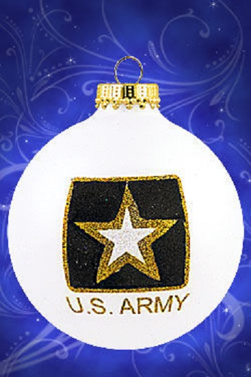 US Army Christmas Glass Ornament Made in USA
