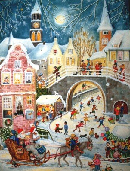 santa sleigh ride german christmas advent calendar. Black Bedroom Furniture Sets. Home Design Ideas