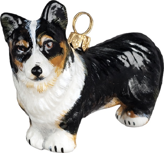 tri color cardigan welsh corgi dog polish glass christmas ornament - Corgi Christmas Ornaments