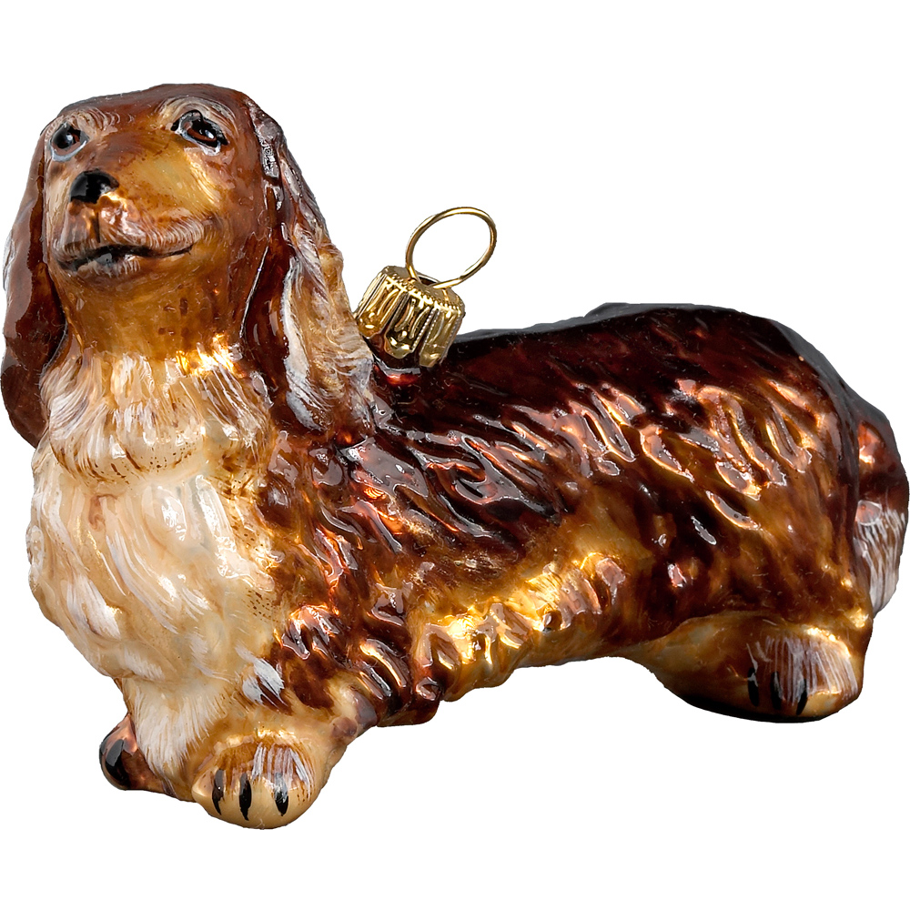 Dachshund Long Haired Red Standing Dog Blown Glass Polish ...