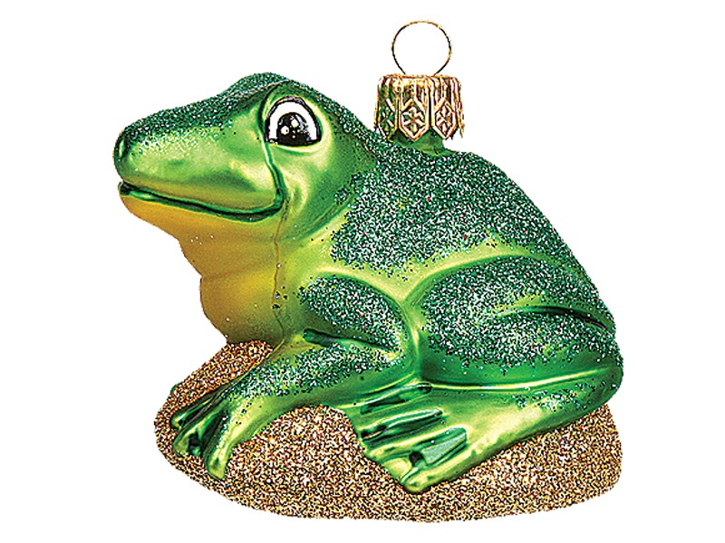 Green Frog Polish Mouth Blown Glass Ornament
