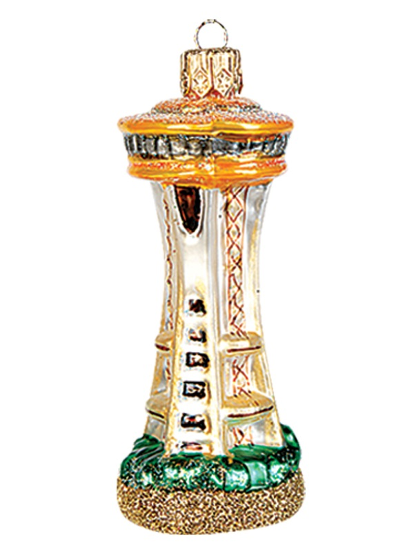 Seattle Space Needle Polish Mouth Blown Glass Christmas Ornament