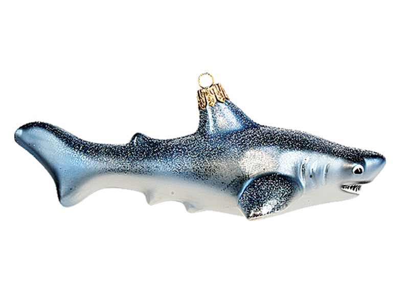 - Great White Shark Polish Mouth Blown Glass Christmas Ornament