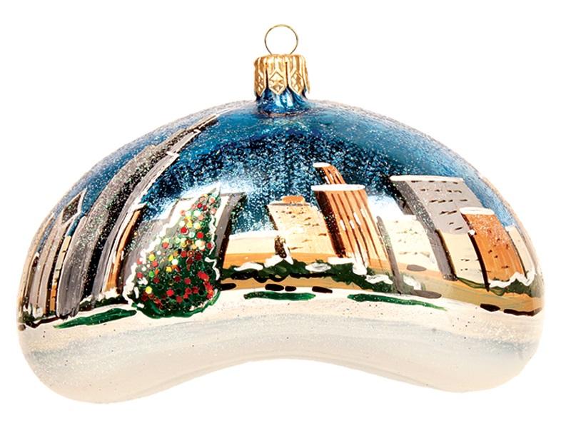 - Chicago Bean Winter Scene Polish Mouth Blown Glass Christmas Ornament