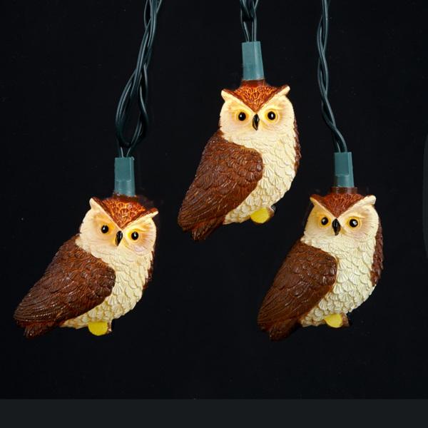 brown owl christmas light set with 10 lights - Outdoor Owl Christmas Decorations