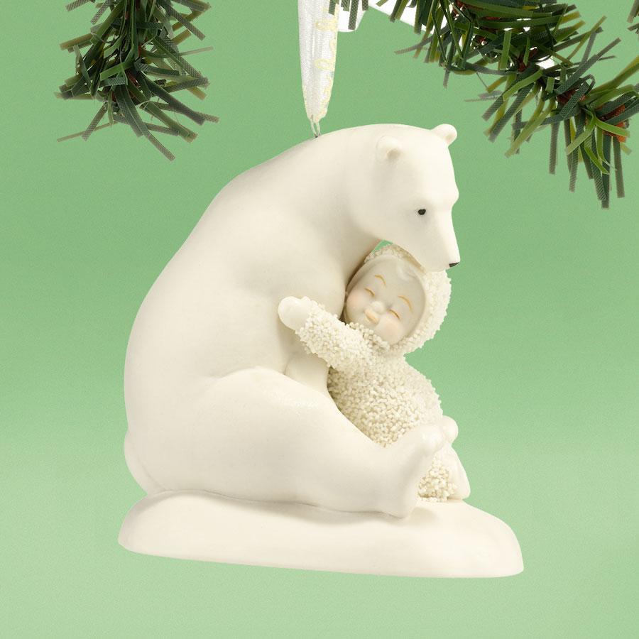 Snowbaby ornaments - Snowbabies Big Bear Hug Baby Hugging Polar Bear Porcelain Christmas Ornament