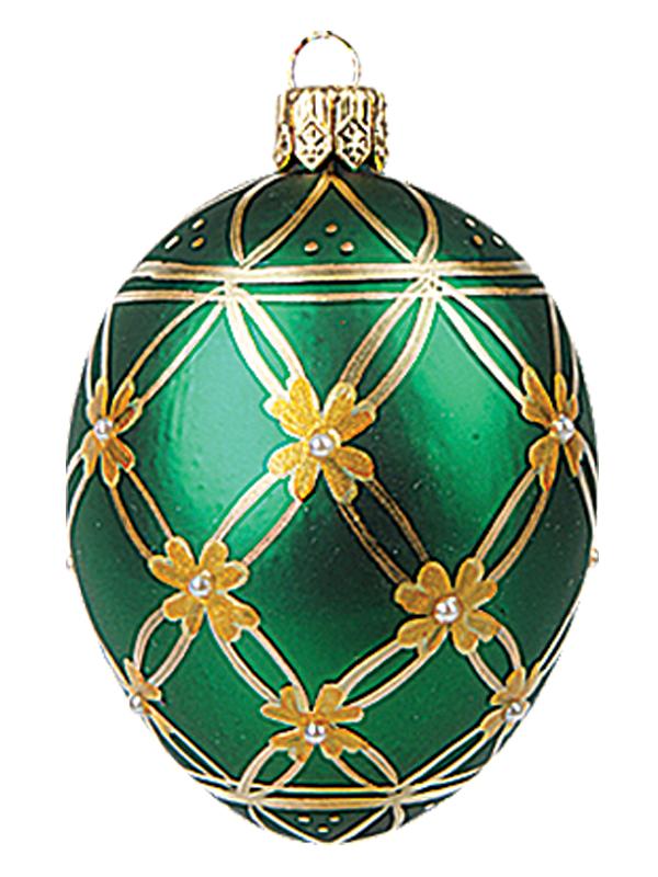 Faberge inspired mini green flower egg polish glass