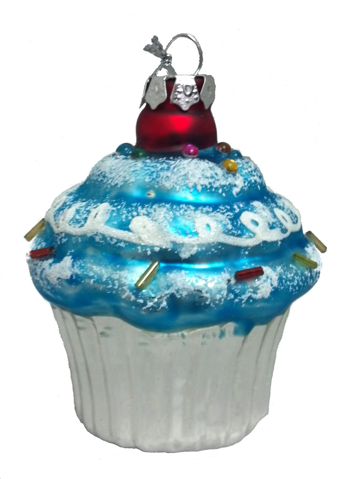 Blue icing cupcake with sprinkles glass christmas ornament