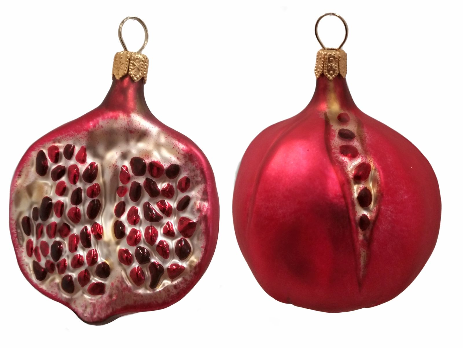 Pomegranate fruit polish mouth blown glass christmas