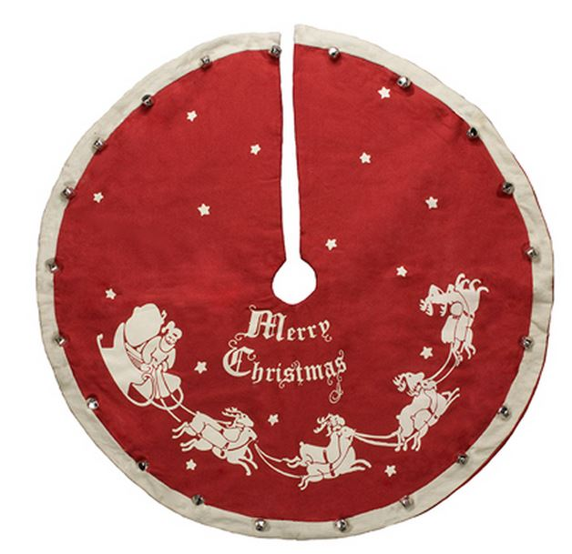 vintage style santa with sleigh merry christmas red large christmas tree skirt