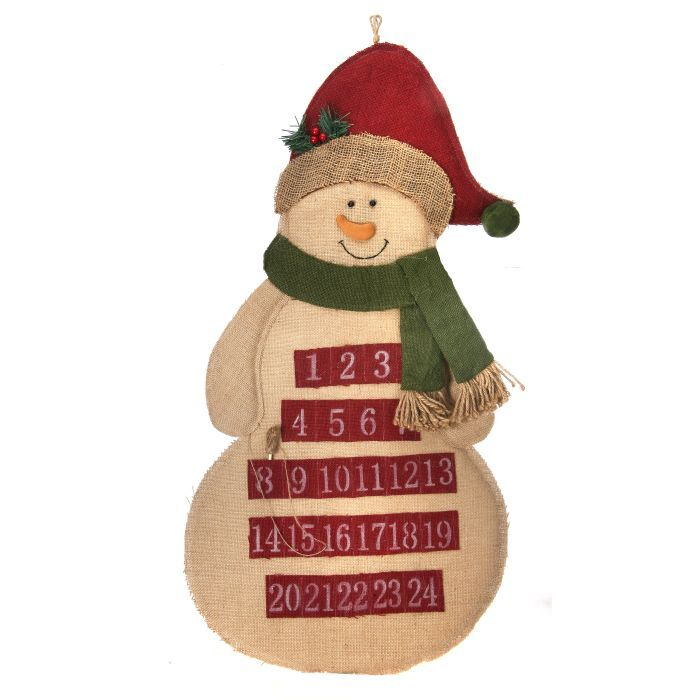 Snowman wearing scarf burlap christmas countdown advent for Snowman made out of burlap