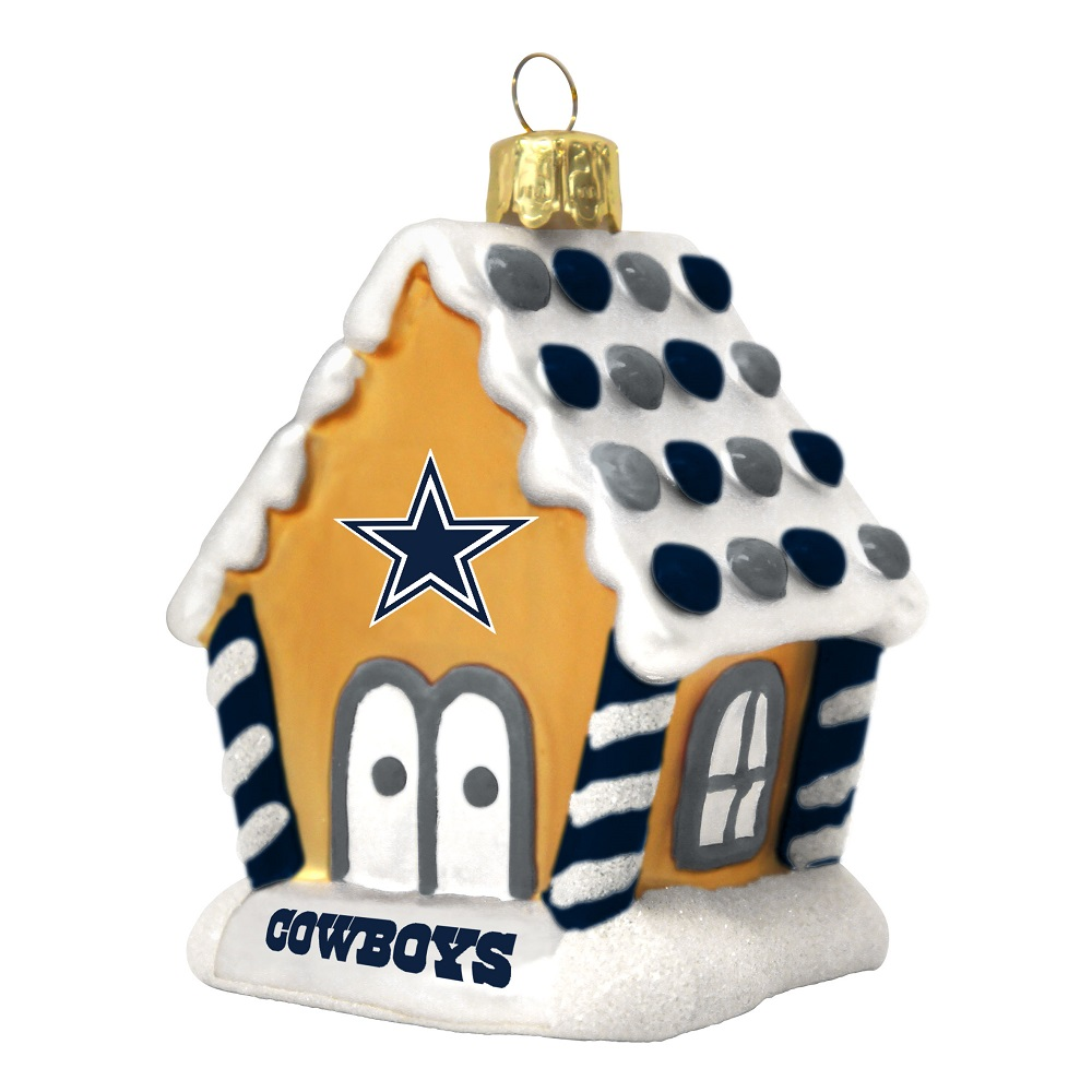 nfl dallas cowboys football gingerbread house glass christmas ornament