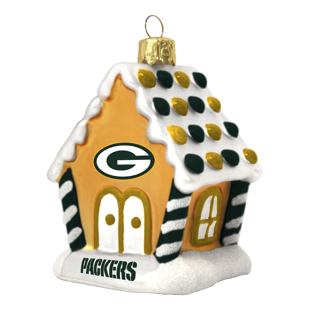 nfl green bay packers football gingerbread house glass christmas ornament - Green Bay Packers Christmas Ornaments
