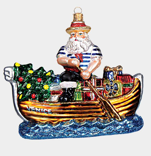 Venice Italy Gondolier Santa Polish Mouth Blown Glass