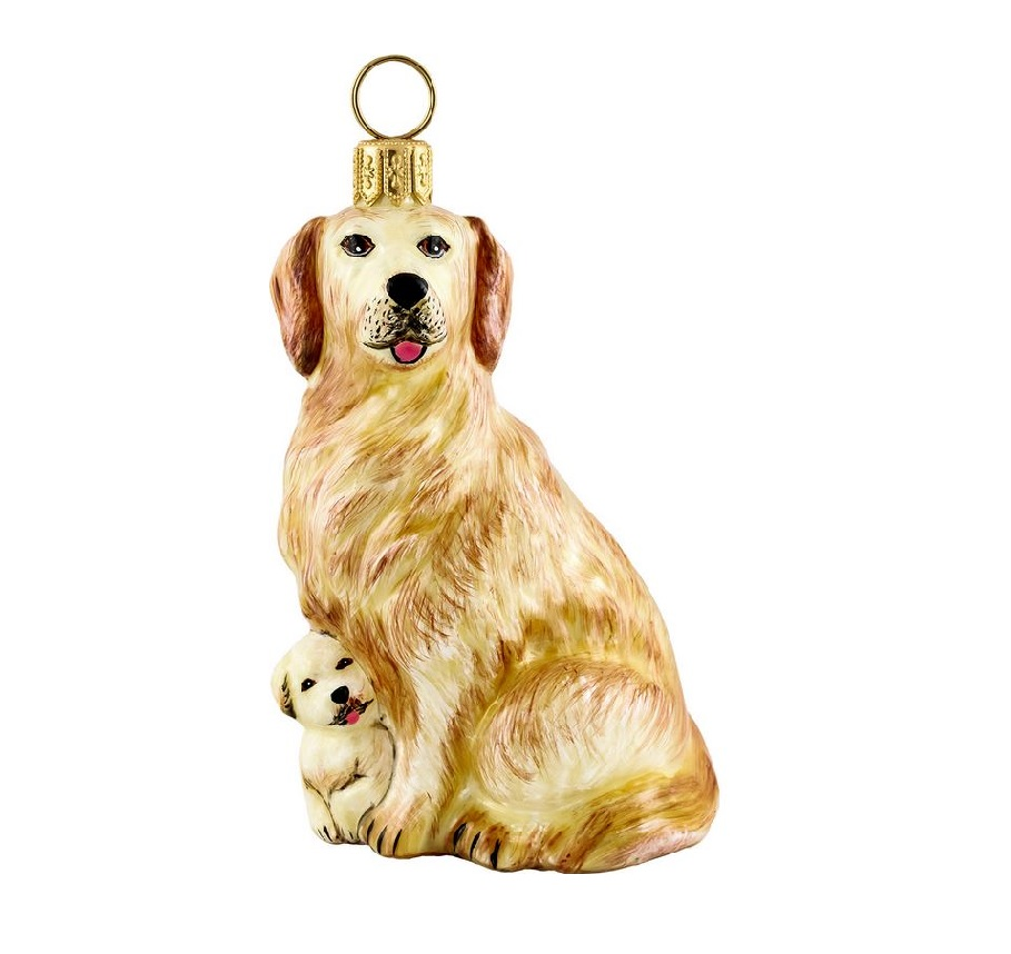golden retriever mother and puppy polish blown glass. Black Bedroom Furniture Sets. Home Design Ideas