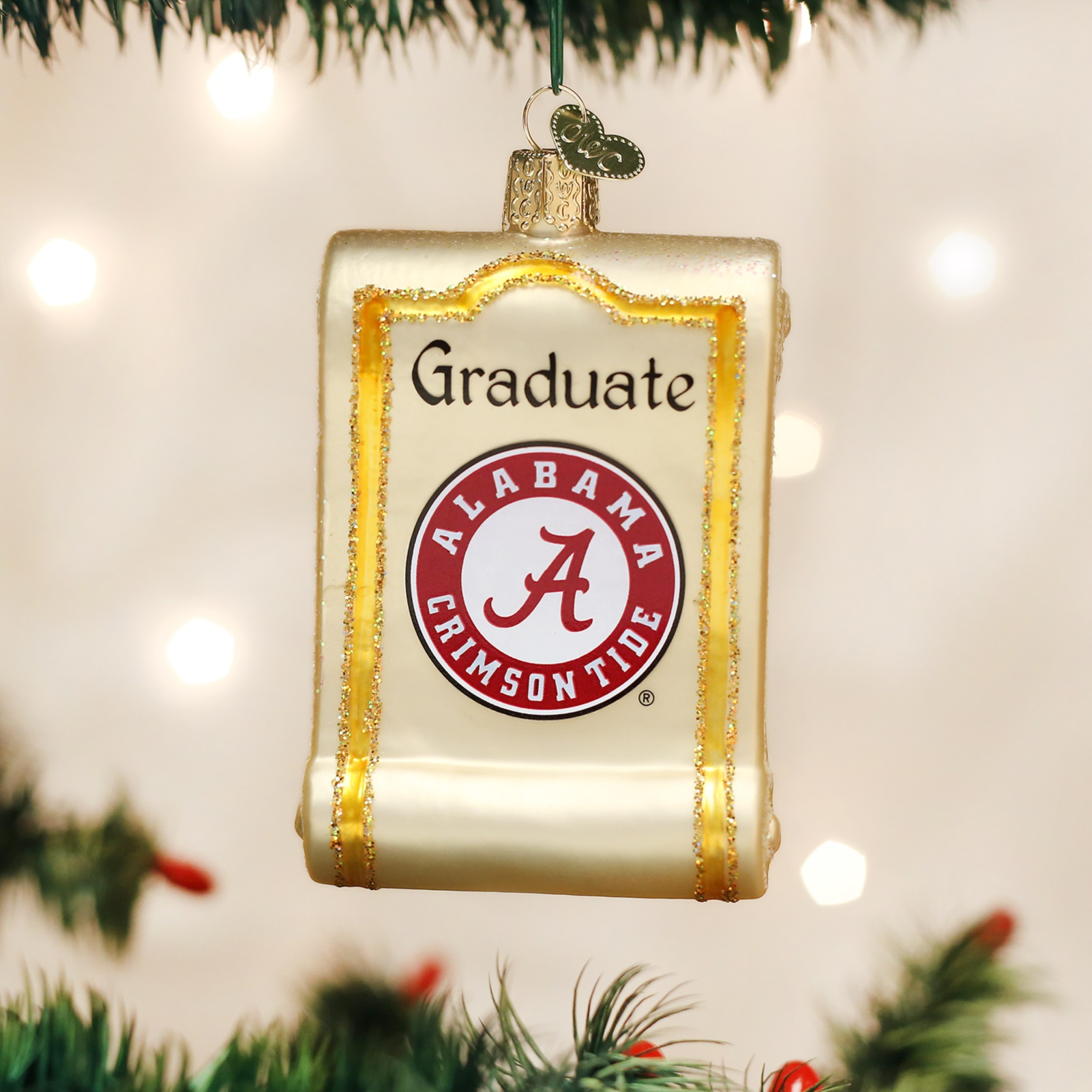University of michigan christmas ornaments - Old World Christmas University Of Alabama Crimson Tide Diploma Ornament 60112
