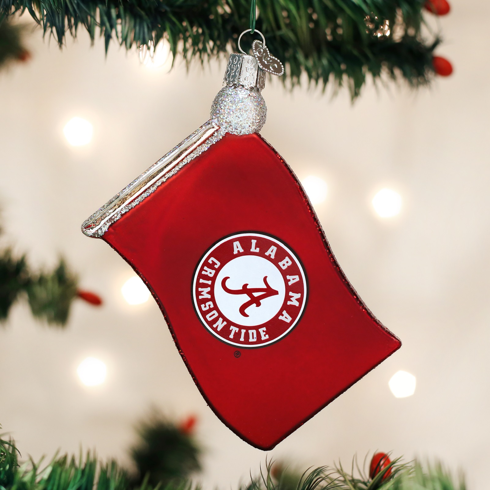 University of michigan christmas ornaments - Old World Christmas University Of Alabama Crimson Tide Flag Glass Ornament 60113