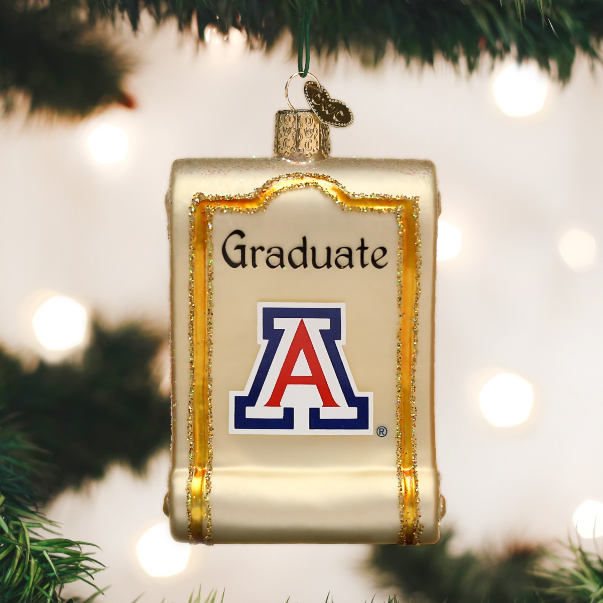 University of michigan christmas ornaments - Old World Christmas University Of Arizona Wildcats Diploma Glass Ornament 63412