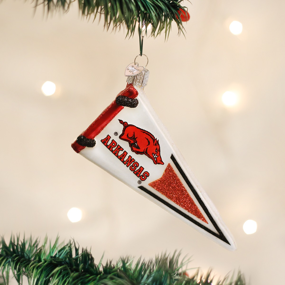 University of michigan christmas ornaments - Old World Christmas University Of Arkansas Razorbacks Pennant Ornament 62606 New
