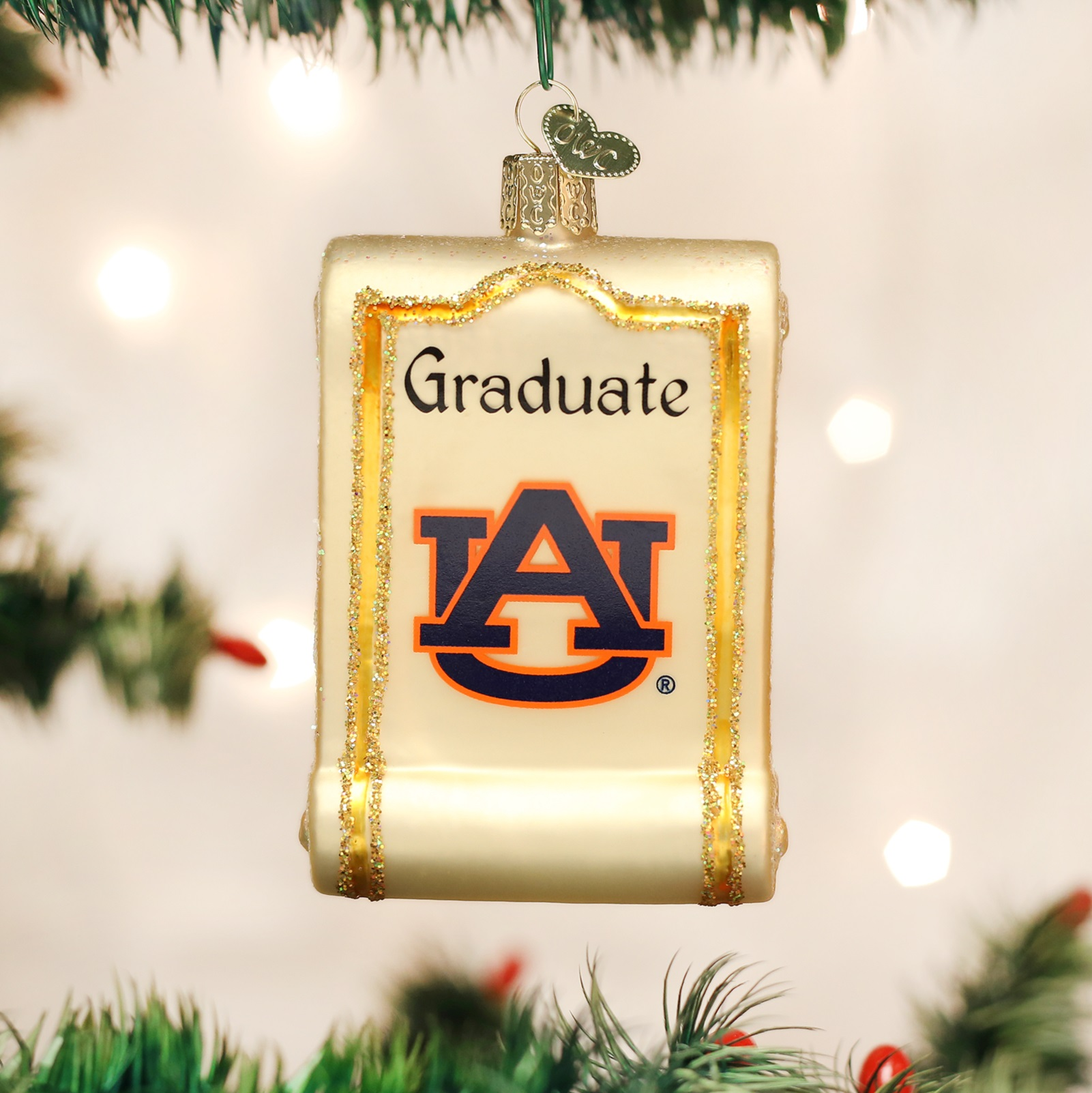 University of michigan christmas ornaments - Old World Christmas Auburn University Tigers Au Diploma Glass Ornament 62412 New