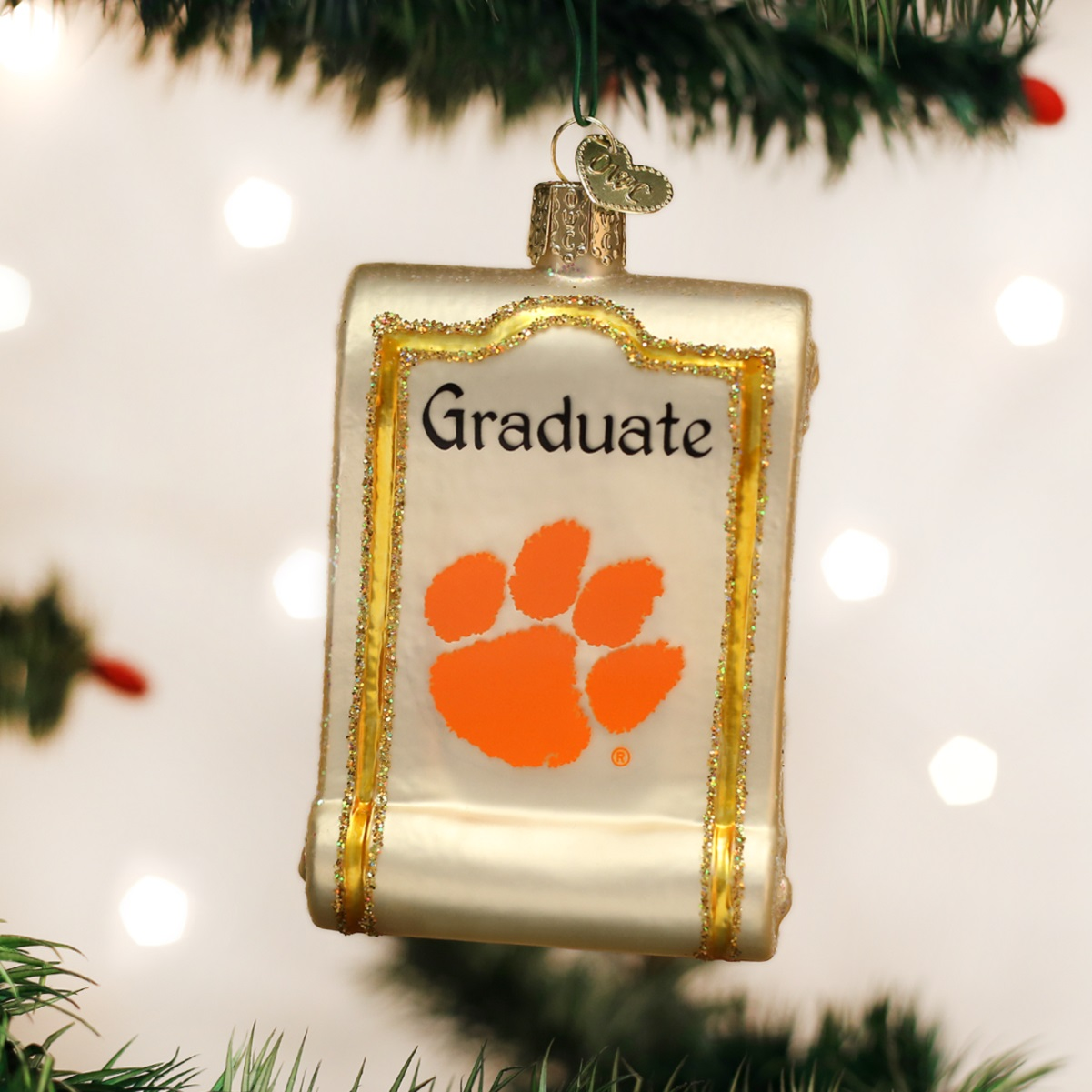 University of michigan christmas ornaments - Old World Christmas Clemson University Tigers Diploma Glass Ornament 61212 New
