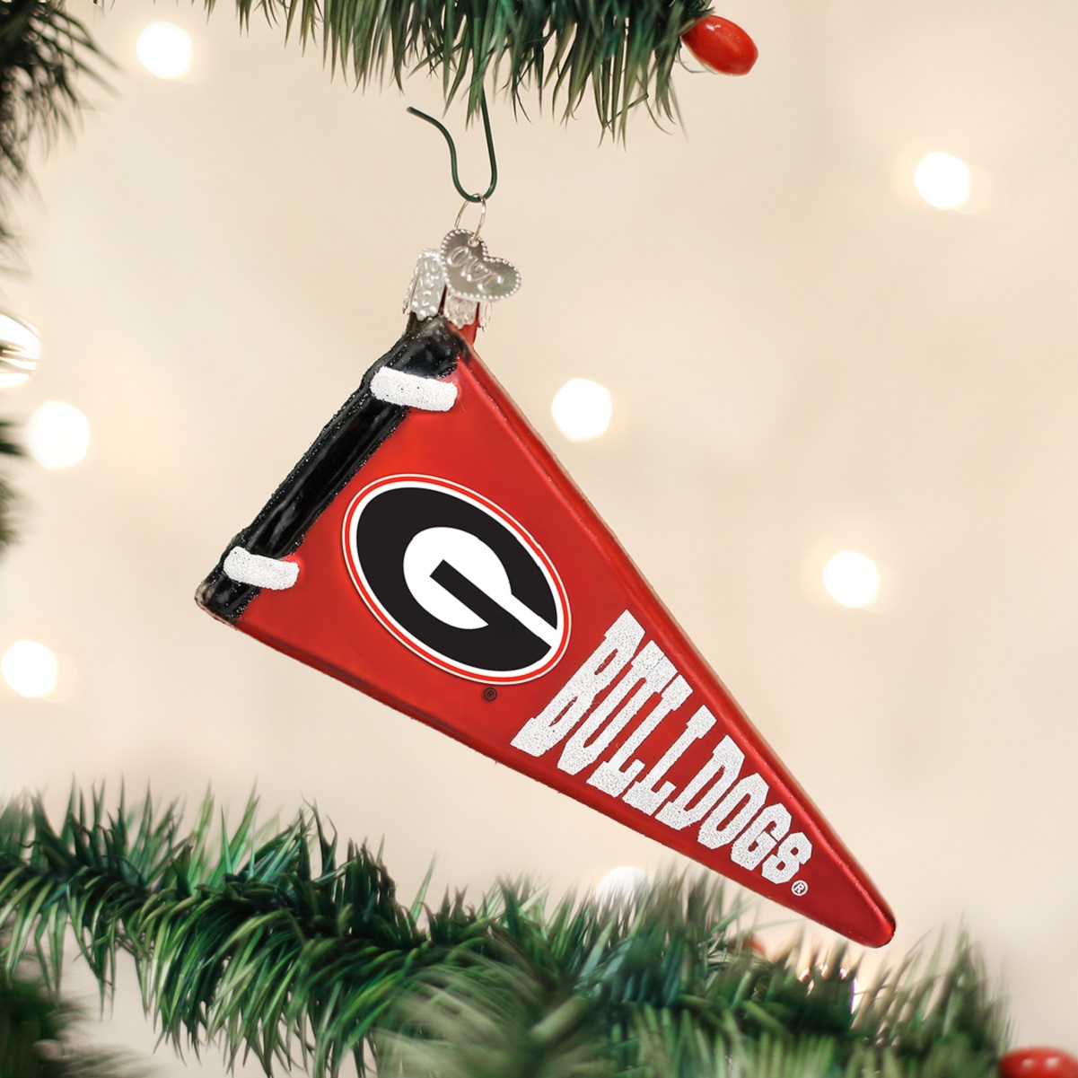 University of michigan christmas ornaments - Old World Christmas University Of Georgia Bulldogs Pennant Glass Ornament 62306