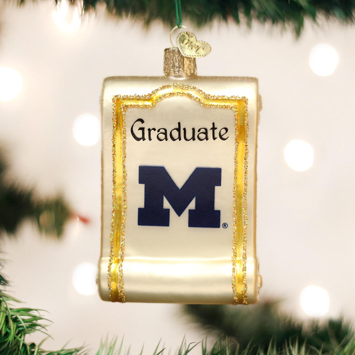 University of michigan christmas ornaments - Old World Christmas University Of Michigan Wolverines Diploma Ornament 60712 New