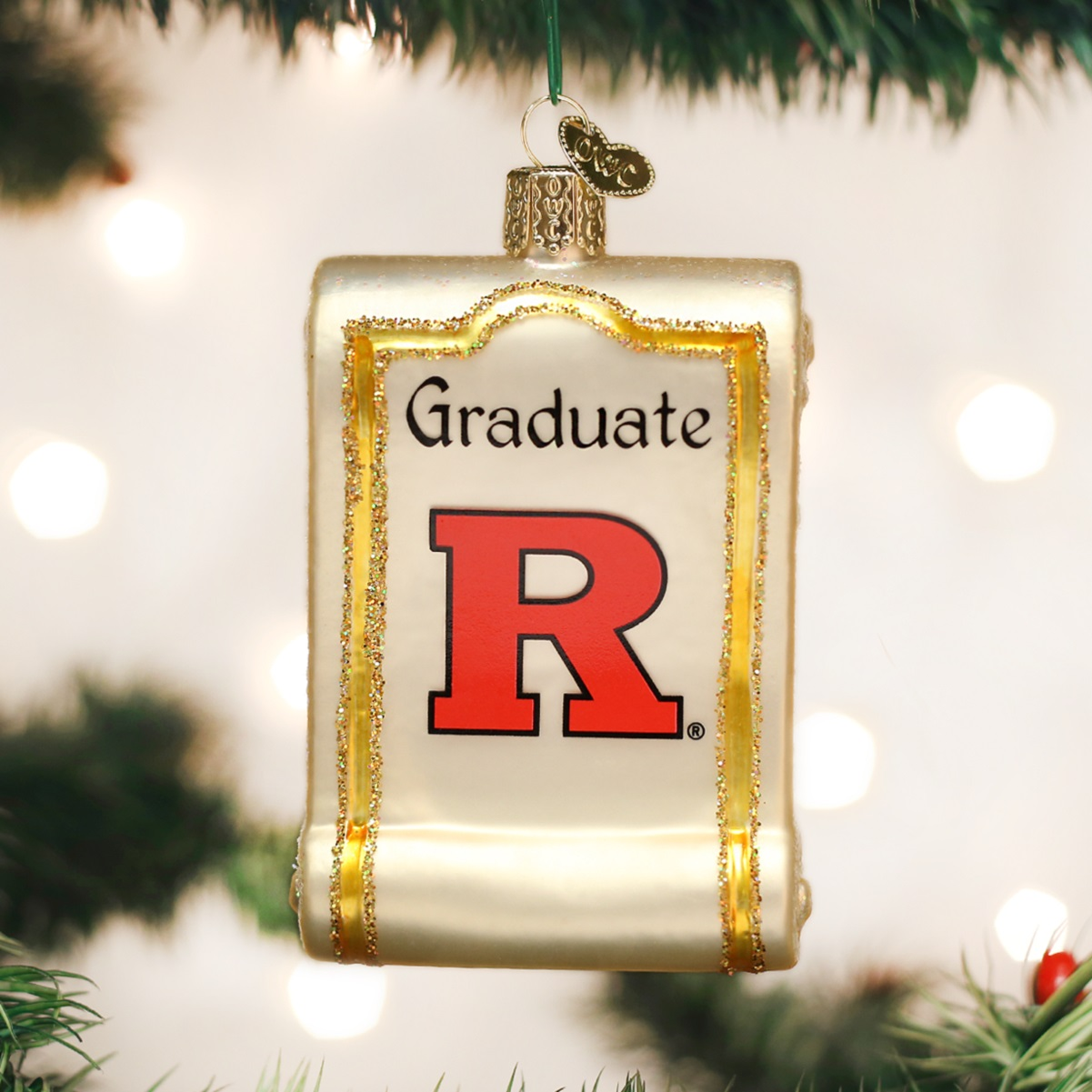 Rutgers ornament - Old World Christmas Rutgers University Scarlet Knights Diploma Ornament 64112