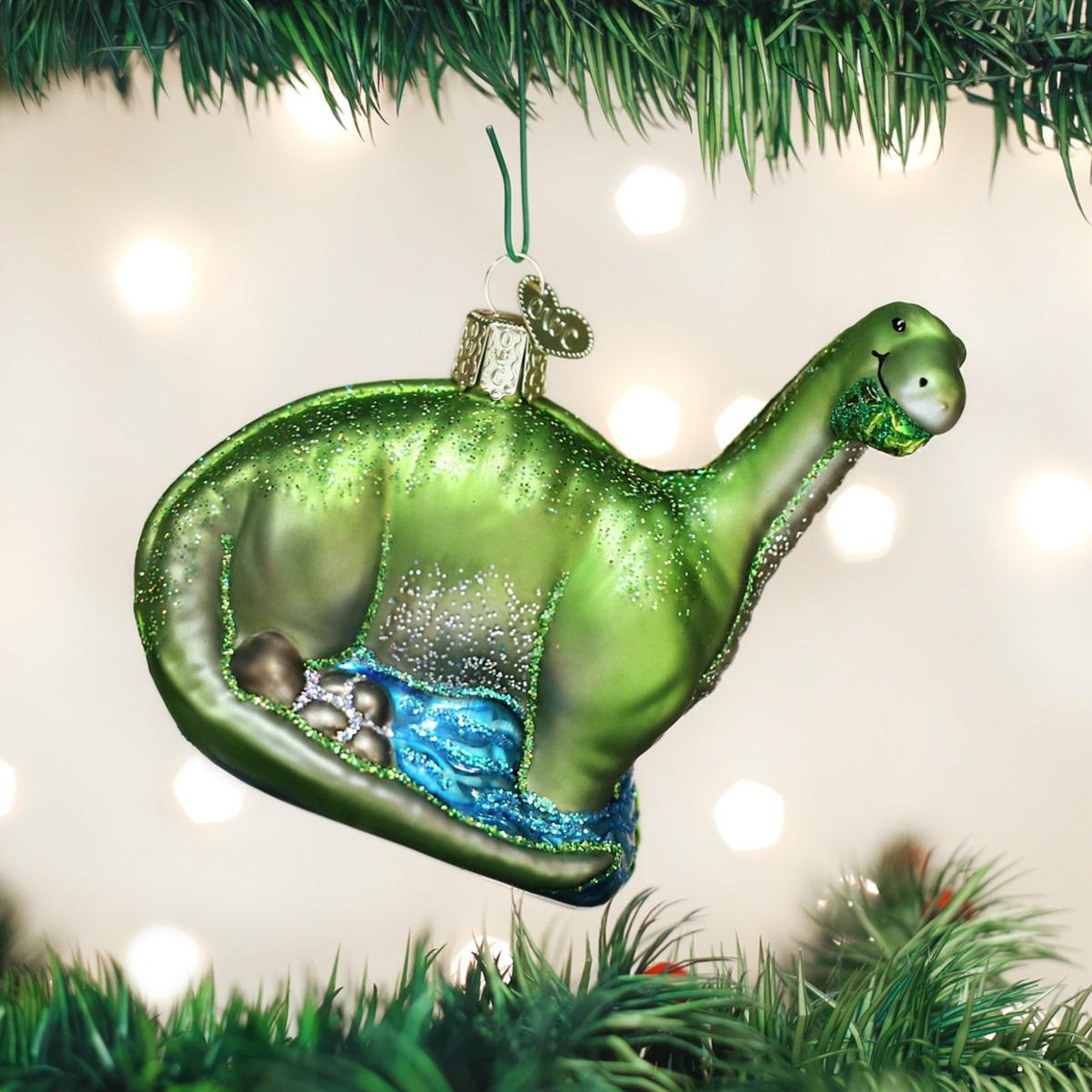 Dinosaur christmas ornaments - Old World Christmas Brontosaurus Dinosaur Glass Tree Ornament 12471 Free Box New
