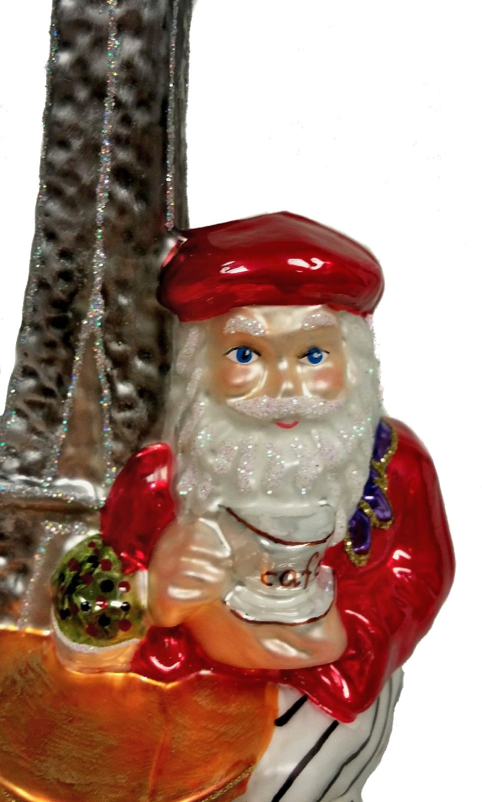 French Santa with Eiffel Tower Polish Glass Christmas ...